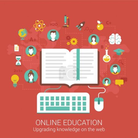 Modern flat design for online education