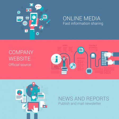Illustration for Online social media company website news letter report concept flat icons set of information sources and vector web banners illustration print materials website click infographics elements collection. - Royalty Free Image
