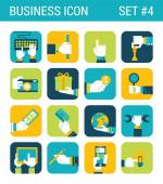 Business  icons set hands