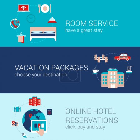 Illustration for Hotel booking travel business concept flat icons banners template set room service vacation tourism packages online hotel reservation vector web illustration website click infographics elements. - Royalty Free Image