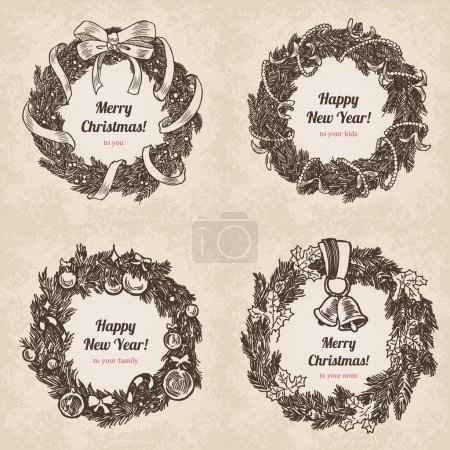 Illustration for Hand drawn wreath holiday set. Happy New Year and Merry Christmas handdrawn engraving style postcard, poster, banner template. Pen and pencil paper drawing vintage vector lineart illustration. - Royalty Free Image
