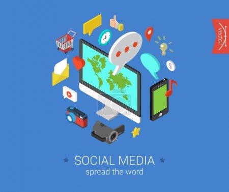 Illustration pour Les médias sociaux plat 3d isométrique pixel art moderne design concept vecteur icônes composition ensemble. Ordinateur de bureau, chat, vidéo, photo, musique, téléphone, tablette. Collection de plat web illustration infographie. - image libre de droit