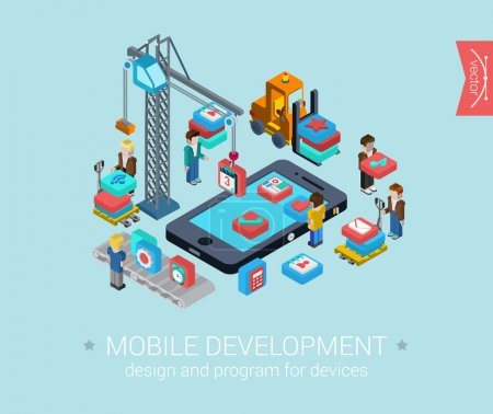Illustration for Flat mobile development ,3d isometric ,modern design ,concept, vector icons, composition set. Touch screen smart phone and mobile app programming. Flat web illustration infographics elements collection. - Royalty Free Image