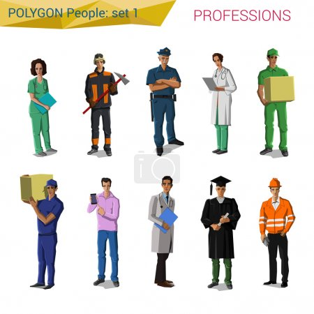 Polygonal style professionals set. Doctor, miner, ...