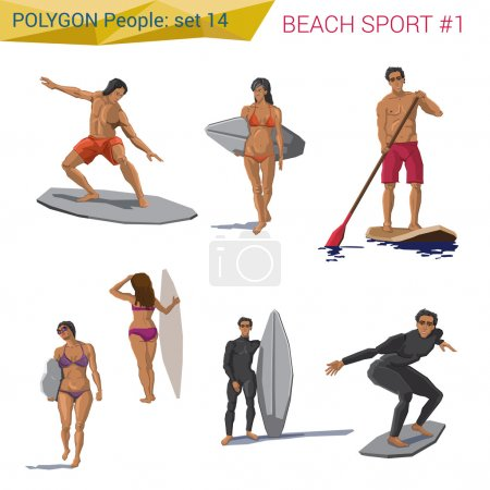 Polygonal style beach, sports people