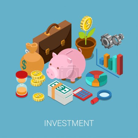 Illustration for Flat 3d isometric investment, capitalization, money savings, finance web infographic concept vector. Piggy bank, coin flower plant, money bag, sand clock, cogwheel, chart graphic report, briefcase. - Royalty Free Image