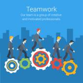 Flat style modern teamwork workforce staff infographic template concept Conceptual web illustration of business people cog wheels city skyscrapers background Leadership human resource management
