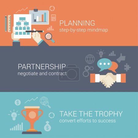 Illustration for Flat style business planning, partnership and success results process infographic concept. Hand drawing strategy chart mindmap, contract handshake, trophy cup web site icon banners templates set. - Royalty Free Image
