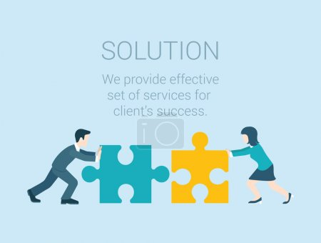 Illustration for Flat style modern infographic business solution concept. Conceptual web illustration businessman and businesswoman characters connecting puzzle pieces. - Royalty Free Image