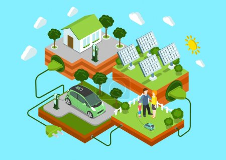 Illustration for Flat 3d web isometric alternative eco green energy lifestyle infographic concept vector. Electric car sun batteries family house on green lawn cord connection. Ecology power consumption collection. - Royalty Free Image