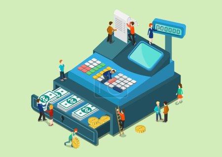 Illustration pour Flat 3d web isométrique petites personnes sur grand format caisse enregistreuse machine infographie concept vecteur. Fabuleux mini personnages humains finance vente au détail concept monétaire. Collection de personnes créatives . - image libre de droit