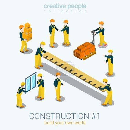 Construction builders people set