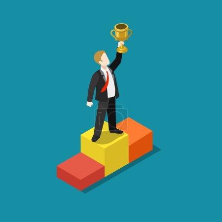 Illustration pour Trophée d'affaires, notation, prix, concept gagnant plat 3d web isométrique vecteur infographique. Homme d'affaires sur le piédestal première place main levante avec tasse d'or. Collection de personnes créatives . - image libre de droit