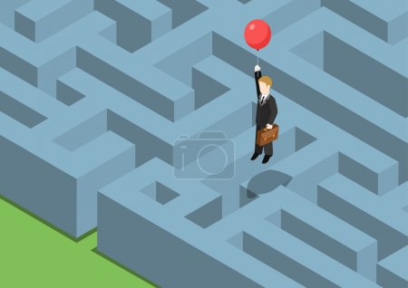Illustration for Risk management concept flat 3d web isometric infographic. Labyrinth maze puzzle avoid business problems creative smart solutions. Businessman on balloon flying over obstacles, keep away from crisis. - Royalty Free Image