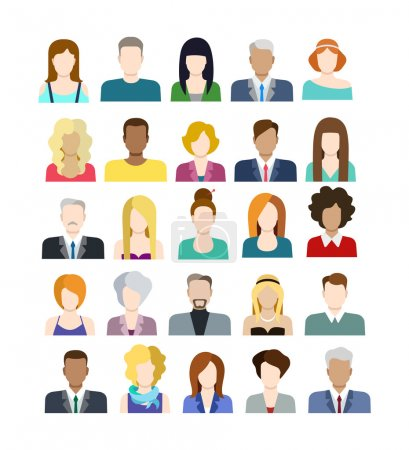 Illustration for Set of casual stylish fashionable people icons in flat style with faces. Vector men and women character. Template concept collection for web profile avatar. - Royalty Free Image