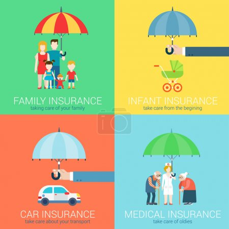 Illustration for 4-in-1 insurance business modern flat set of concept vector illustration icons. Family life, baby infant children, car vehicle transport, health medical oldies senility care policy. - Royalty Free Image