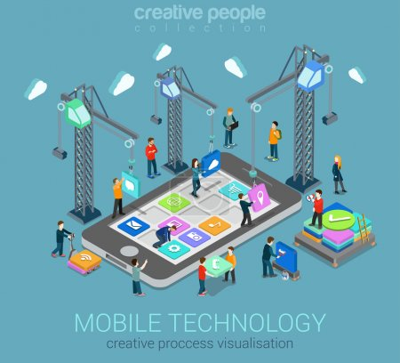 Illustration for Mobile technology operating system creative process visualization flat 3d web isometric infographic concept vector template. Cranes placing building blocks mobile app icons to smartphone. - Royalty Free Image
