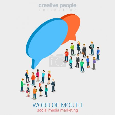 Illustration for Social marketing word of mouth gossip flat 3d web isometric infographic internet online technology concept vector template. Groups of micro people and chat callout signs. Creative people collection. - Royalty Free Image