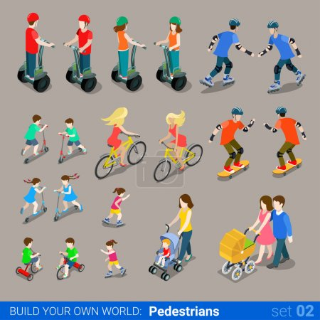 Illustration for Flat 3d isometric high quality city pedestrians on wheel transport icon set. Segway skates kickboard bicycle pram skate-board scooter and riders. Build your own world web infographic collection. - Royalty Free Image