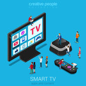 Smart online internet ip tv flat 3d web isometric infographic Next generation IPTV television Micro people crowd hyper trophic screen set top box remote controller Creative technology collection