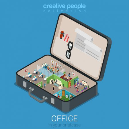 Illustration for Micro mobile office in big briefcase concept flat 3d web isometric infographic concept vector. Office walls interior rooms in opened business brief case. Creative people collection. - Royalty Free Image