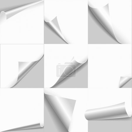 Illustration for Creative page curl rolled set. Web background templates of empty white papers with flip edges. Copy space for text, logo, header, product. - Royalty Free Image