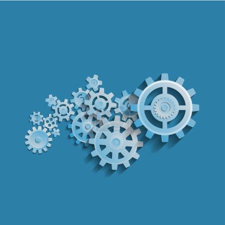 Cogwheel mechanism  process concept.