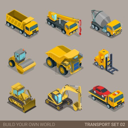 Illustration pour Ensemble d'icônes de transport de ville isométrique 3D plat. excavatrice grue niveleuse bétonnière bétonnière rouleau fosse camion à benne basculante dépanneuse camion. Construisez votre propre collection d'infographie web mondiale . - image libre de droit