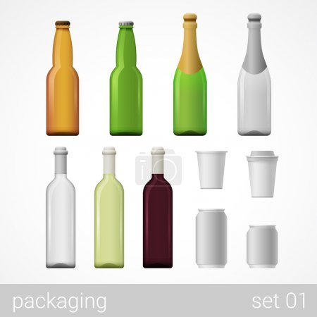 Bottles, metal cans and paper cups.