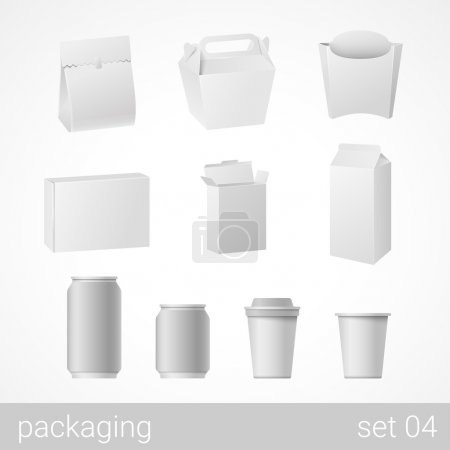 Illustration for Food and drink plastic, metal, paper and cardboard packages set. Blank white packaging objects isolated on white vector illustration. - Royalty Free Image