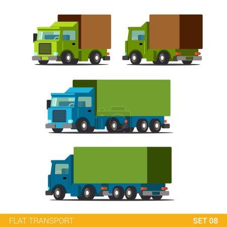 Illustration pour Flat 3d isométrique de haute qualité drôle livraison de fret icône de transport routier ensemble. Camion fourgon automobile chariot camion à moteur. Construisez votre propre collection d'infographie web mondiale . - image libre de droit