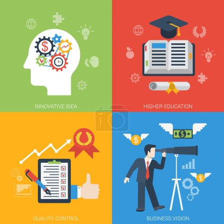 Illustration for Flat style web banner modern icon set concept from innovative idea to success in business. Gear cogwheel mechanism brain education quality control vision. Website click infogaphics elements collection - Royalty Free Image