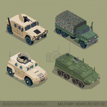 3d  military ransport icon set.