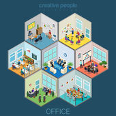Flat isometric office interior room