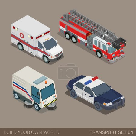 Illustration for Flat 3d isometric high quality city municipal emergency road transport icon set. Ambulance fire department police sedan dept pavement sidewalk cleaner. Build your own world web infographic collection. - Royalty Free Image