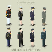 Military army officer commander patrol SWAT people in holiday uniform flat isometric 3d game avatar user profile icon vector illustration set Creative people collection Build your own world