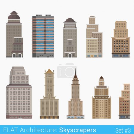 Illustration for Flat style modern classic buildings skyscrapers set. City design elements. Stylish design architecture collection. - Royalty Free Image