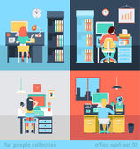 Set of young man woman freelance workplace