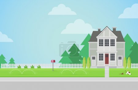 Illustration for Flat style countryside family house with backyard lawn concept. Architecture design elements. Build your world collection. - Royalty Free Image