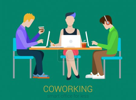 Coworking flat web infographic concept