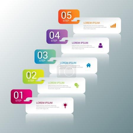 Illustration pour Simple multicolor 5 étapes processus étapes étiquettes modèle de maquette d'infographie. Collection de concepts de fond infographiques. - image libre de droit