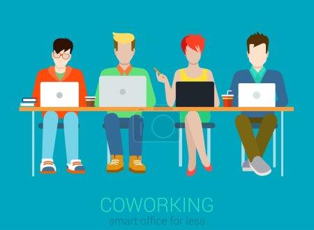 Illustration pour Coworking flat web infographie concept vecteur. Quatuor de coworking quatre personnes à la table avec des ordinateurs portables. Processus de travail des organismes de bureau. Collection de personnes créatives . - image libre de droit