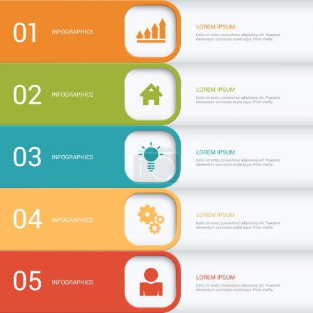 Simple multicolor 5 step process steps labels infographics mockup template. Infographic background concepts collection.