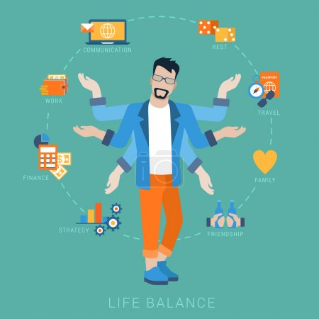 Illustration for Flat life balance many armed young man abstract shiva lifestyle concept. Male figure with multi hands pointing to work income finance planing strategy family travel friendship aspects. - Royalty Free Image