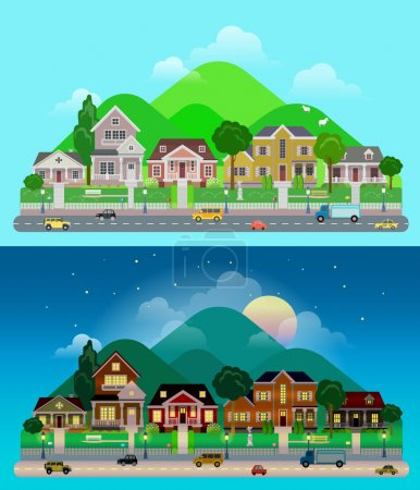 Illustration for Flat cartoon city town suburb set day and sunset night hilly mountains on background. Road transport street traffic before line of low-rise buildings townhouse mansion house. World cities collection - Royalty Free Image