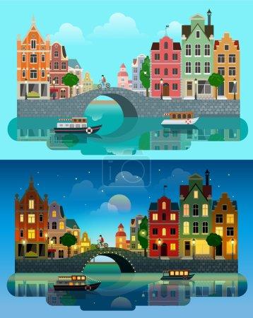 Illustration pour Dessin animé plat multicolore bâtiments historiques colorés ville ville coucher de soleil Amsterdam Hollande, Venise Italie. Rivière canal de mer canal pont bateau remblai vélo multi couleur rue - image libre de droit