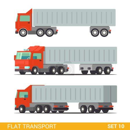 Illustration pour Flat 3d isométrique de haute qualité drôle livraison de fret icône de transport routier ensemble. Construisez votre propre collection d'infographie web mondiale . - image libre de droit