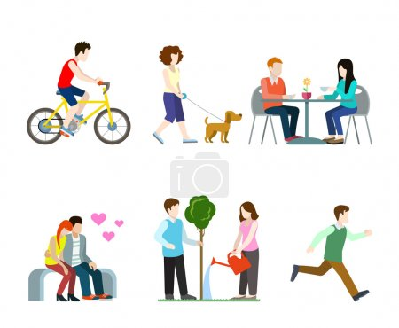 Illustration for Flat high quality city street pedestrians icon set. Bicycle rider dog walker cafe table bench romantic lovers tree watering runner. Build your own world web infographic collection. - Royalty Free Image