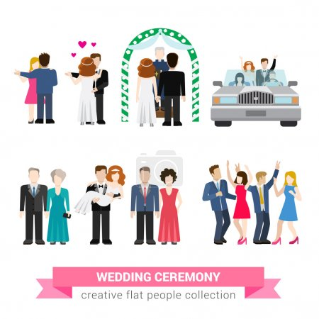 Illustration for Super wedding ceremony marriage flat style infographic icon people set. Newlyweds wife husband bride groom dance guests groomsman bridesman usher honeymoon. Creative conceptual illustration collection - Royalty Free Image