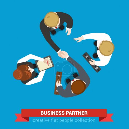 Illustration for Business partner handshake deal contract meeting. Top view flat web infographic concept vector. Businessmen and assistants. Creative people collection. - Royalty Free Image